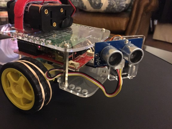 GoPiGo with front-facing distance sensor
